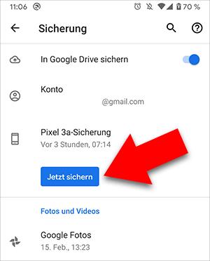 Android-Gerät auf Google Drive sichern