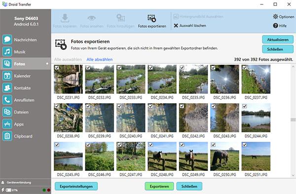 Exportieren Sie Fotos von Android auf den PC
