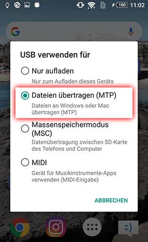 Richten Sie Android so ein, dass Dateien auf den PC übertragen werden