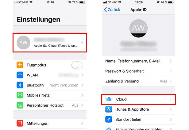 iPhone mit iCloud sichern - Schritt 1