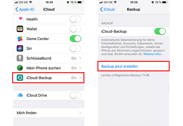 iPhone mit iCloud sichern - Schritt 2