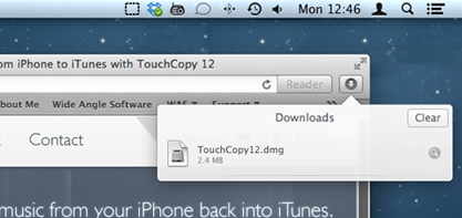 Launch the TouchCopy installer from your browser